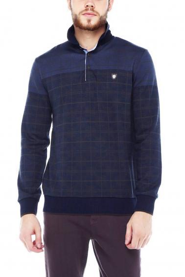 Erkek Füme Polo Yaka Düğmeli Selanik Sweatshirt 95048