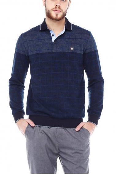 Erkek Lacivert Polo Yaka Düğmeli Selanik Sweatshirt 95048