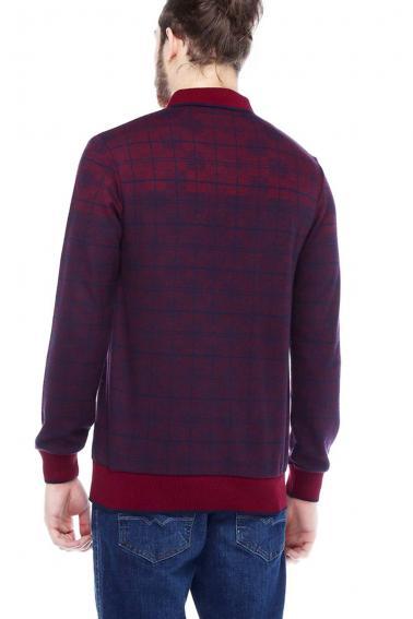 Erkek Bordo Polo Yaka Düğmeli Selanik Sweatshirt 95048