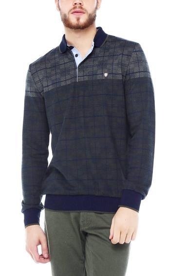 Erkek Haki Polo Yaka Düğmeli Selanik Sweatshirt 95048