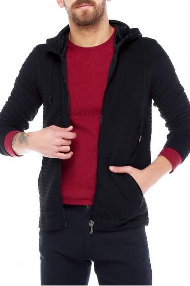 Erkek Siyah Slim Fit Örme Fermuarlı Kapüşonlu Sweatshirt 95037