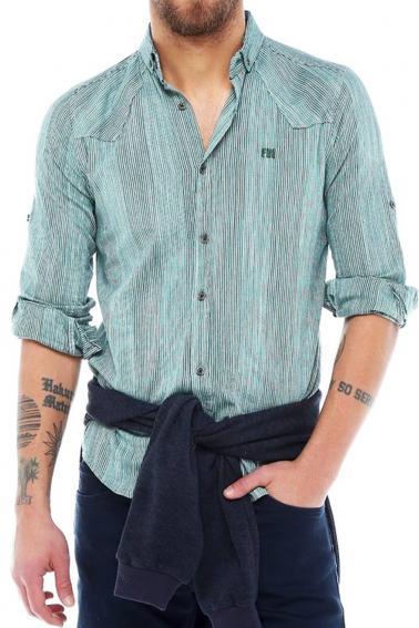 Erkek Haki Çizgili Slim Fit Nakışlı Katlamalı Kol Gömlek 5134-01