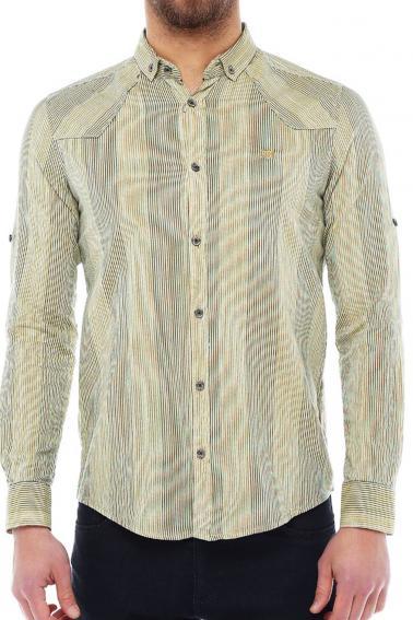 Erkek Hardal Çizgili Slim Fit Nakışlı Katlamalı Kol Gömlek 5134-02
