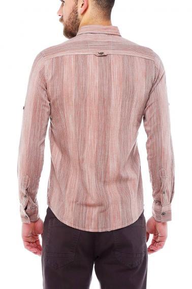 Erkek Bordo Çizgili Slim Fit NakışlıKatlamalı Kol Gömlek 5134-05