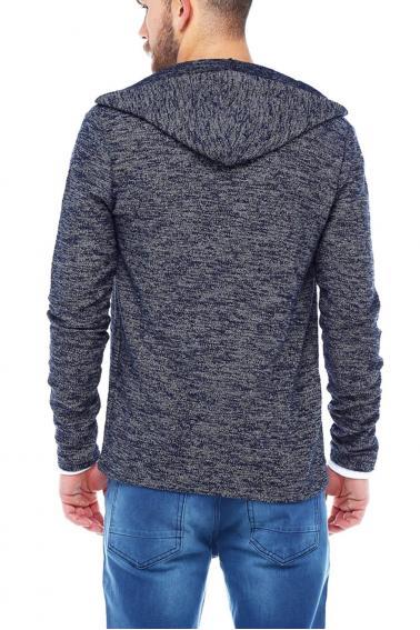 Erkek Lacivert Slim Fit  Kapüşonlu Fermuarlı Sweatshirt Hırka 95026
