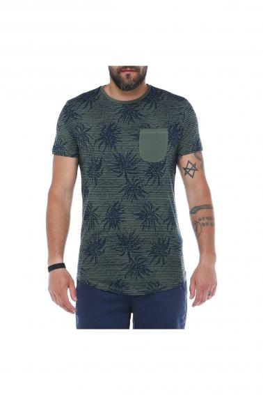 Erkek Haki Desenli Bisiklet Yaka Cepli Modern Kesim Kısa Kollu T-Shirt F5157
