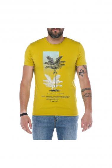 Erkek Hardal Bisiklet Yaka Baskılı Modern Kesim Kısa Kollu T-Shirt F5169