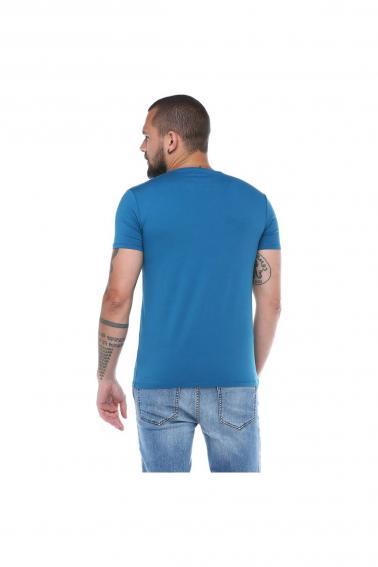Erkek Petrol Bisiklet Yaka Baskılı Modern Kesim Kısa Kollu T-Shirt F5169