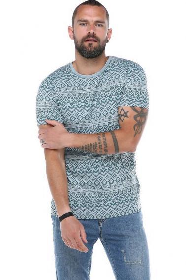 Erkek Mavi Etnik Desenli Bisiklet Yaka Slim Fit Kısa Kollu T-Shirt F1888