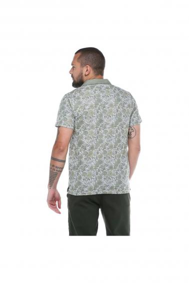 Erkek Haki Polo Yaka Desenli Modern Kesim Polyester T-Shirt F5210