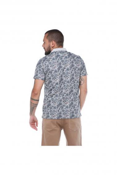 Erkek Antrasit Polo Yaka Desenli Modern Kesim Polyester T-Shirt F5210