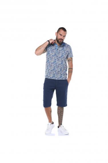 Erkek İndigo Polo Yaka Desenli Modern Kesim Polyester T-Shirt F5210