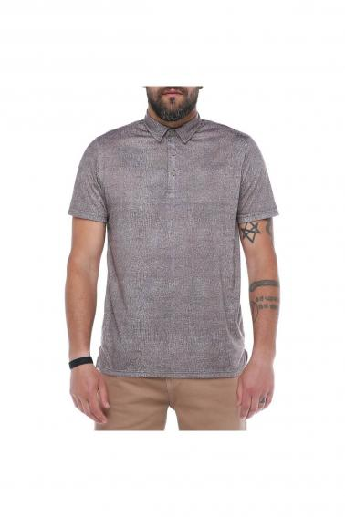 Erkek Haki Polo Yaka Desenli Modern Kesim Polyester T-Shirt F5211