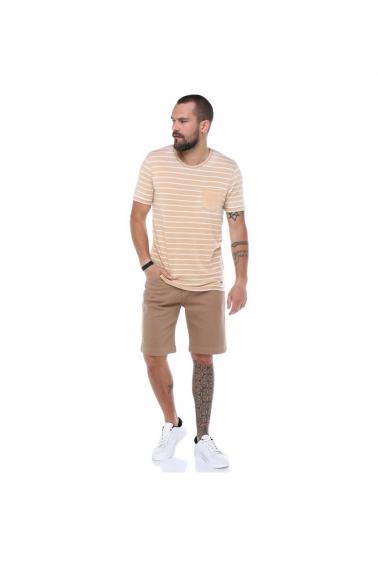 Erkek Hardal Cepli Bisiklet Yaka Çizgili Slim Fit Kısa Kollu T-Shirt F023