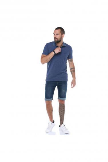 Erkeke Lacivert Polo Denim Yaka Nakışlı Pike Slim Fit T-Shirt F559