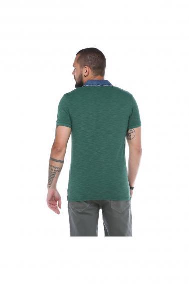 Erkeke Yeşil Polo Denim Yaka Nakışlı Pike Slim Fit T-Shirt F559