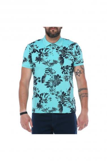 Erkek Mint Polo Yaka Desenli Pike Modern Kesim T-Shirt F5229