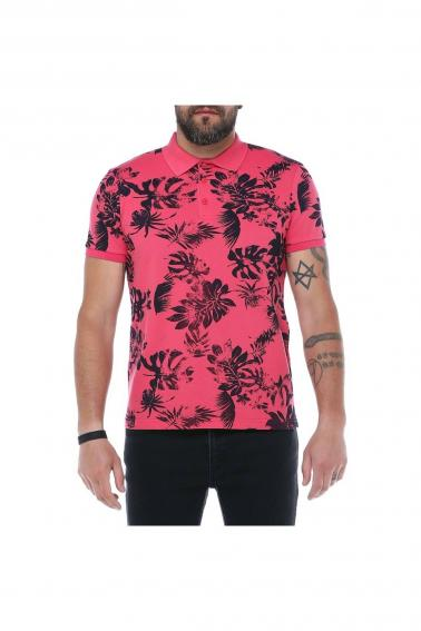 Erkek Nar Çiçeği Polo Yaka Desenli Pike Modern Kesim T-Shirt F5229