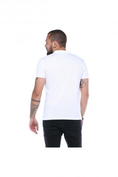 Erkek Beyaz Polo Yaka FBI Desenli Pike Modern Kesim T-Shirt F5230