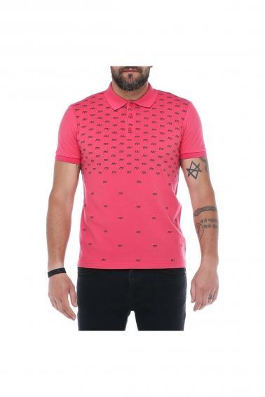 Erkek Nar Çiçeği Polo Yaka FBI Desenli Pike Modern Kesim T-Shirt F5230
