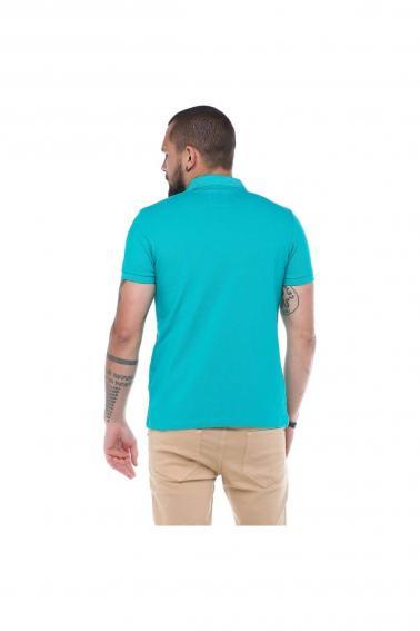 Erkek Zümrüt Polo Yaka FBI Desenli Pike Modern Kesim T-Shirt F5230