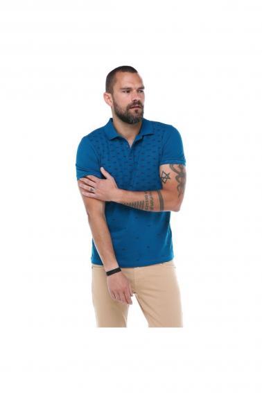 Erkek Petrol Polo Yaka FBI Desenli Pike Modern Kesim T-Shirt F5230