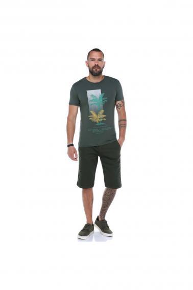 Erkek Haki Bisiklet Yaka Baskılı Modern Kesim Kısa Kollu T-Shirt F5169
