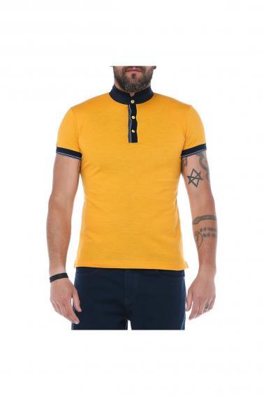 Erkek Hardal Dik Yaka Patlı Modern Kesim Kısa Kollu T-Shirt F5185