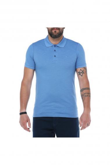 Erkek Mavi Polo Yaka Pike Likralı Modern Kesim Kısa Kollu T-Shirt F5186