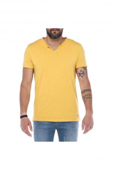 Erkek Sarı V Yaka Modern Kesim Kısa Kollu T-Shirt F036