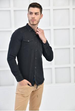 Antrasit Erkek Denim Yıkamalı Sedef ÇıtÇıt Cepli Slim Fit Gömlek F6170