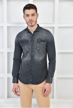 Antrasit Erkek Denim Yıkamalı Taşlamalı Cepli Slim Fit Gömlek F6155