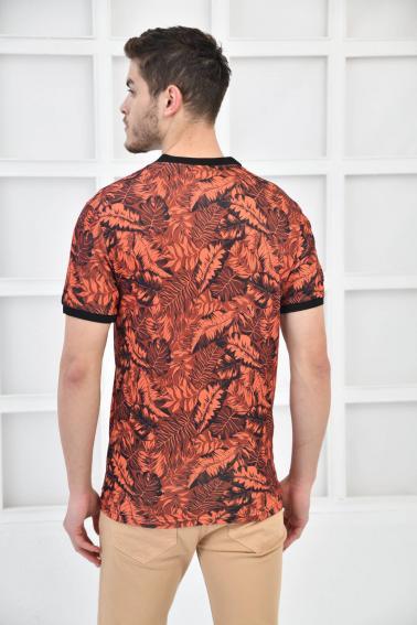 Tarçın Erkek Canlı Desenli Pike Polo Yaka Slim Basıc T-Shirt F51617