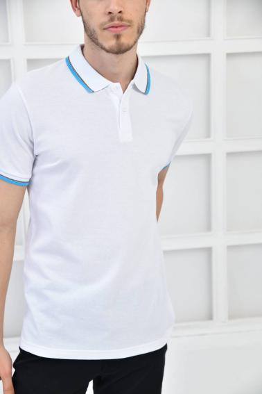 Beyaz Erkek Polo Yaka Modern Kesim Pike Kumaş T-Shirt F5421