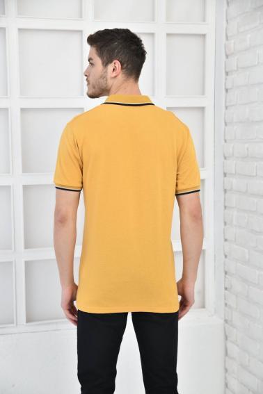 Hardal Erkek Polo Yaka Modern Kesim Pike Kumaş T-Shirt F5421