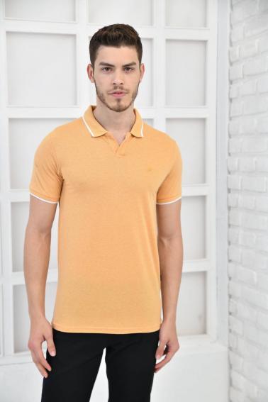 Hardal Erkek Düz Pike Polo Yaka Likralı Slim Fit Nakışlı T-Shirt F51606