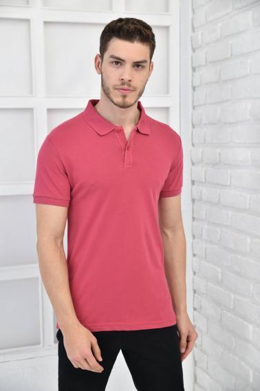 Gül Kurusu Erkek Düz Pike Polo Yaka Likralı Slim Basıc T-Shirt F51610