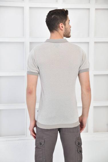 Bej Erkek Polo Yaka Triko Örgü Slim Fit T-Shirt F93076