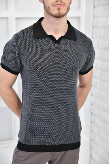 Siyah Erkek Polo Yaka Triko Örgü Slim Fit T-Shirt F93076