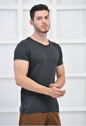 Antarsit Erkek V Yaka Basıc Likralı T-Shirt F5123