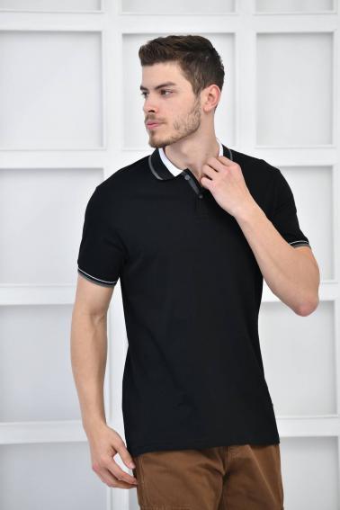 Siyah Erkek Polo Yaka Modern Kesim Pike Kumaş T-Shirt F5429