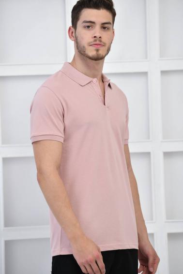 Pudra Erkek Düz Pike Polo Yaka Likralı Slim Basıc T-Shirt F51610
