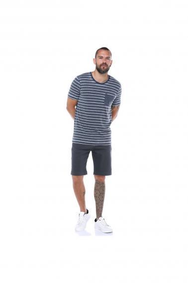 Erkek Lacivert Cepli Bisiklet Yaka Çizgili Slim Fit Kısa Kollu T-Shirt F023