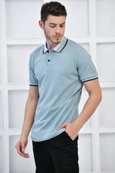 Mint Erkek Polo Yaka Modern Kesim Pike Kumaş T-Shirt F5429