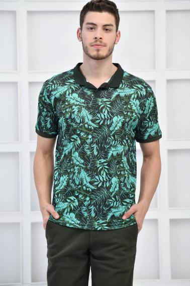 Yeşil Erkek Canlı Desenli Pike Polo Yaka Slim Basıc T-Shirt F51617