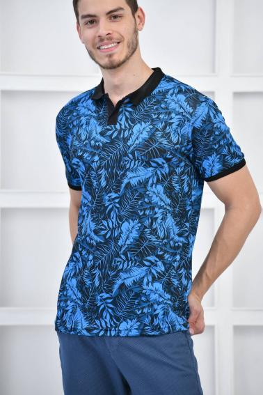 Sax Erkek Canlı Desenli Pike Polo Yaka Slim Basıc T-Shirt F51617
