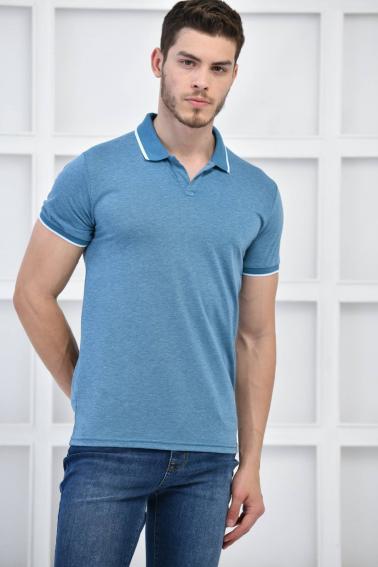 Petrol Erkek Düz Pike Polo Yaka Likralı Slim Fit Nakışlı T-Shirt F51606