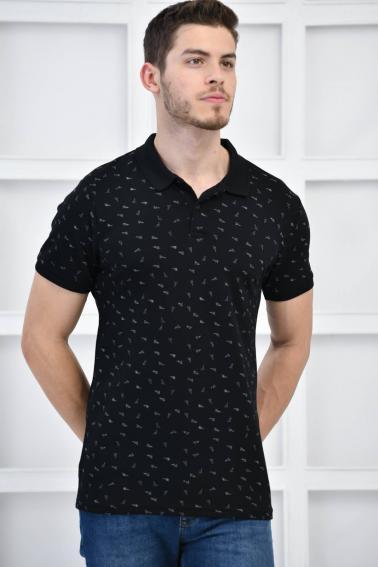 Siyah Erkek Desenli Pike Polo Yaka Likralı Slim Basıc T-Shirt F51614