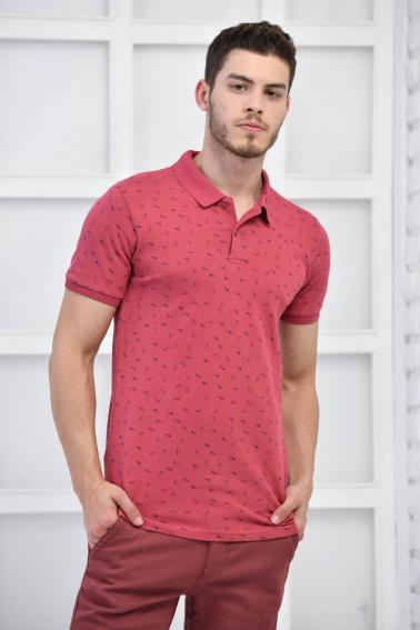 Gül Kurusu Erkek Desenli Pike Polo Yaka Likralı Slim Basıc T-Shirt F51614
