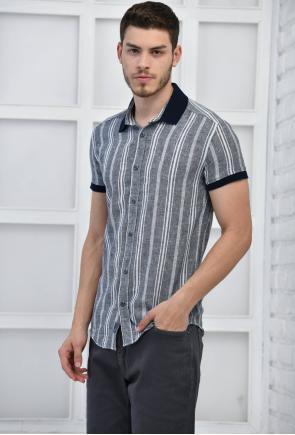 Antrasit Erkek Çizgili Keten Slim Fit Kısa Kol Gömlek F5237